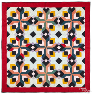 Vibrant geometric pieced quilt