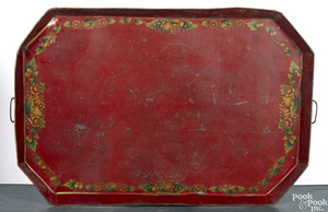 Massive red toleware tray