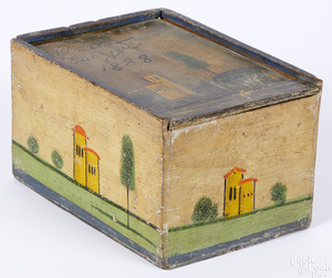 Continental painted pine slide lid box