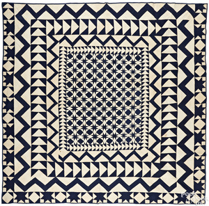 Large Pennsylvania blue and white pieced quilt
