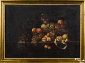 Continental oil on canvas still life with fruit