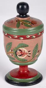 Joseph Lehn painted poplar lidded saffron cup