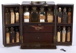 English mahogany traveling apothecary cabinet