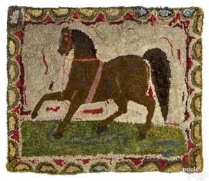 American hooked rug of a trotting horse