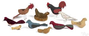Ten fabric birds