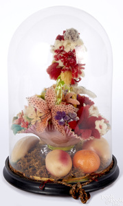 Floral bouquet in glass dome
