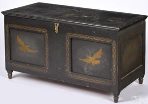 Pennsylvania or Ohio painted pine blanket chest