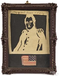 Cutwork silhouette of Major General Brown