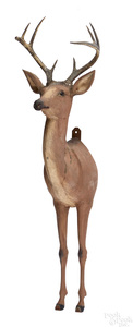 Carved and painted deer torso mount with antlers