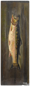 Pair of oil on panel works of a trout and a rabbit
