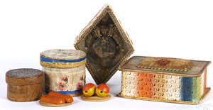 Three wallpaper dresser boxes