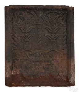 Elizabeth Furnace cast iron stove plate