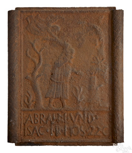 Cast iron Abraham and Isaac stove plate