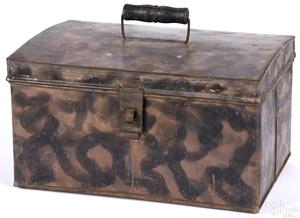 Smoke decorated tin document box
