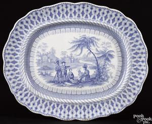 Blue Staffordshire Penn's Treaty platter