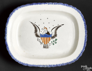 Pearlware blue feather edge eagle platter