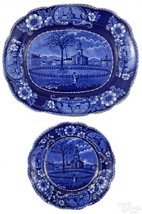 Historical blue Staffordshire platter and plate