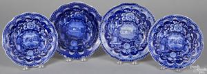 Three Historical Blue Staffordshire plates, etc.