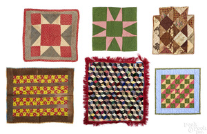 Six Pennsylvania pieced doll quilts