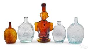 Four historic glass flasks, etc.