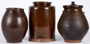 Three large Pennsylvania redware crocks