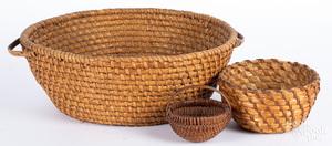 Rye straw basket with bentwood handles, etc.