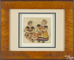 Watercolor fraktur of two girls holding doves