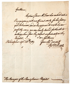 Thomas McKean signed handwritten letter