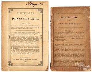 Two printed militia booklets, Pennsylvania 1839