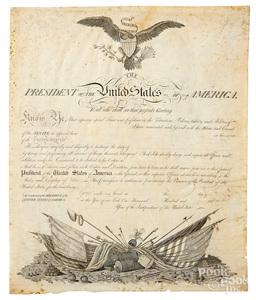 John Draper blank vellum US military commission