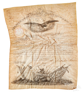 Andrew Jackson signed vellum military appointment
