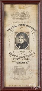 William Henry Harrison silk 1840 campaign ribbon