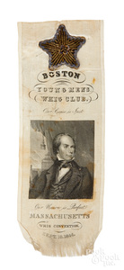 1844 Massachusetts Whig Convention silk ribbon