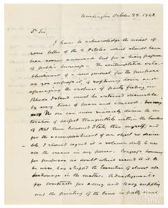 John Tyler signed letter, 1842