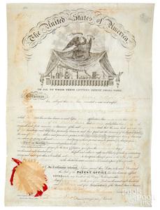 James Buchanan signed vellum patent letter, 1847