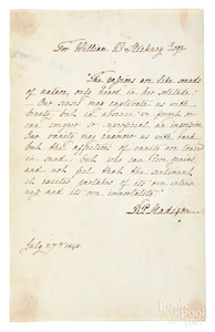 Dolley Madison autographed poetic quotation, 1848