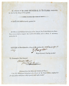 Major Zachary Taylor signed Mexican War safe guar