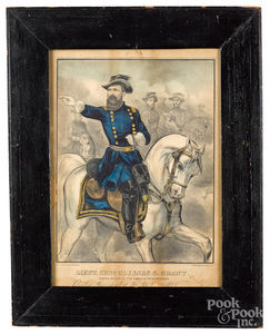 Seven military lithographs, Currier etc.