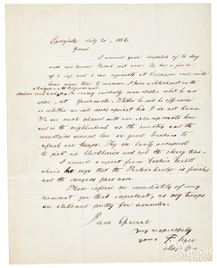 Franz Sigel Civil War signed letter, 1862