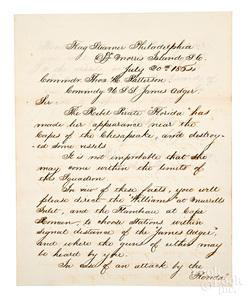 Civil War letter signed by John Dahlgren, 1864