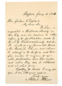 Millard Fillmore signed hand written letter, 1864