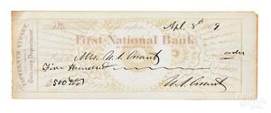 President Ulysses S. Grant signed bank check