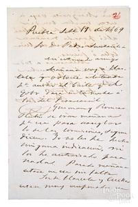 Benito Juarez signed hand written letter