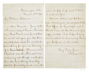James A. Garfield signed letter, 1869