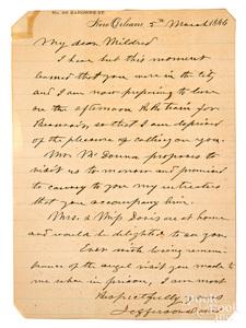Jefferson Davis signed hand written letter