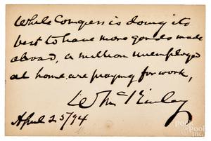 William McKinley signed handwritten note card