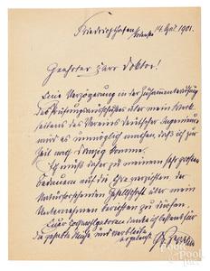 Count Ferdinand Graf von Zeppelin signed letter