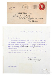 Grover Cleveland signed typed letter, 1903