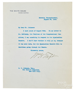 William Taft signed typed letter, 1910