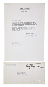 Harry S. Truman signed typed letter, 1967